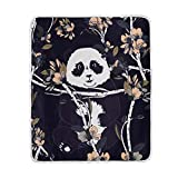 ALAZA Seasonal Quilt Spring Flower Lovely Panda Crystal Velvet Throw Blanket for Bed 50 x 60 inch Kids Baby Girls Colorful Painting Couch Blanket Throw Decor