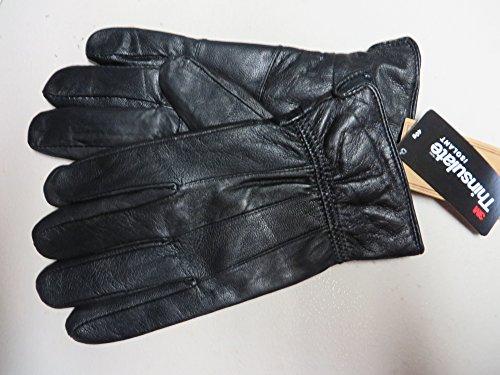 Mens Black Leather Gloves 3M Thinsulate Insulation Size Medium
