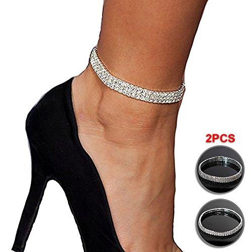 NewChiChi 2PCS Twinkle Diamond Anklet Elastic Bling Shining Foot Jewelry Bracelet Bridal Summer Jewelry