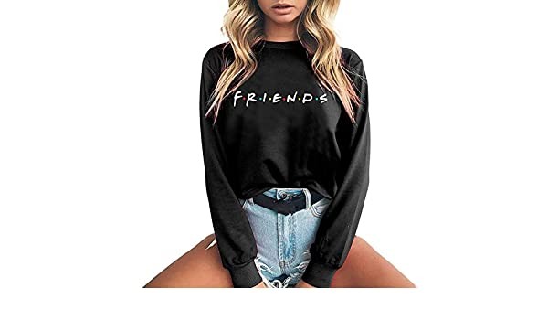 Dreamedge Friends Letter Print Women Hoodies Sweatshirt Thicken Sudaderas Mujer Long Sleeve Pullovers, Black, XL at Amazon Womens Clothing store: