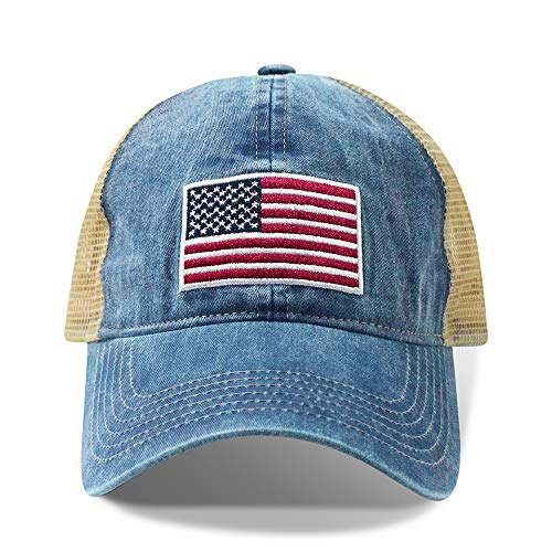 PSWAH ATELIER USA Map Embroidered Pigment Dyed 6 Panel Low Profile Trucker Hat Navy Khaki One Size Fits Most OSFA Men Women Adult