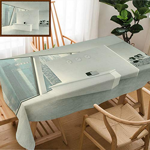 Unique Custom Design Cotton and Linen Blend Tablecloth Reception Area with Clocks and Workplaces in A Bright Modern Open Space Loft Office White Tablecovers for Rectangle Tables, Large Size 86