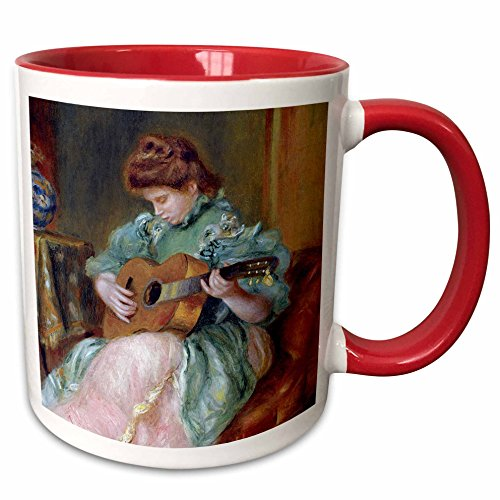 (3dRose BLN Music Featured in Fine Art Collection - Femme a la Guitare 1896 by Pierre Auguste Renoir Woman Playing Guitar - 15oz Two-Tone Red Mug (mug_171351_10))