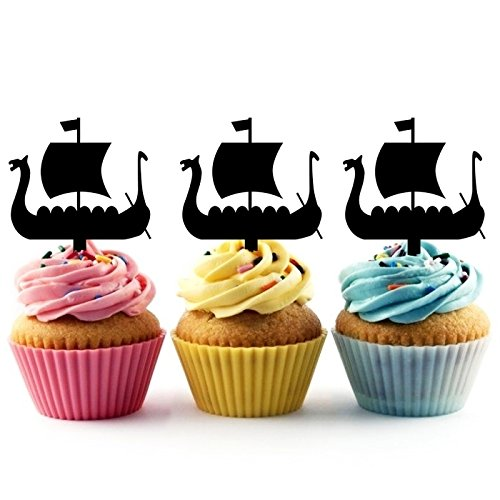 TA0208 Viking Ship Silhouette Party Wedding Birthday Acrylic Cupcake Toppers Decor 10 pcs by jjphonecase