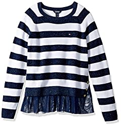 Tommy Hilfiger Big Girls' Pullover Fashion Sweater, Flag Blue, Medium