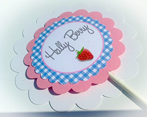 3 Centerpieces or Cake Toppers - Strawberry Birthday Collection - Blue Gingham, Pink Accents, Berry Graphics - Party Packs Available