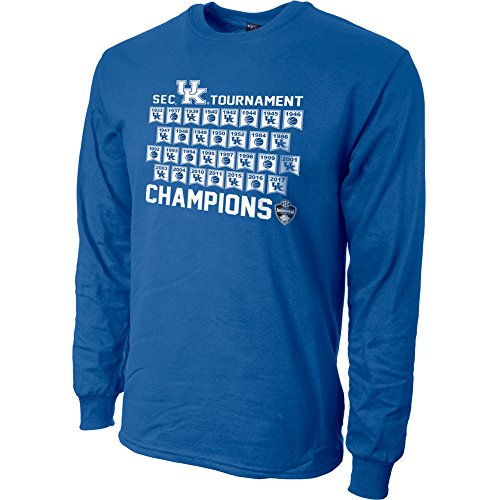 Kentucky Wildcats 2017 SEC Champs Long Sleeve TShirt Blue - L