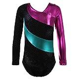 TFJH E Sparkle Leotard for Girls Gymnastics Kids Athletic Dancing Clothes 138 Black 140