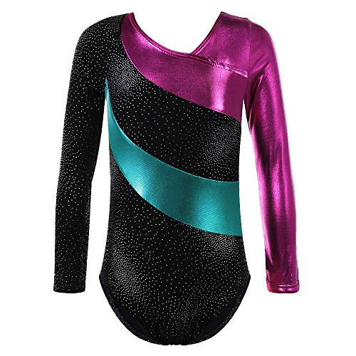TFJH One-piece Sparkle Dancing Gymnastics Athletic Clothes for Little Girl 138 Black 130