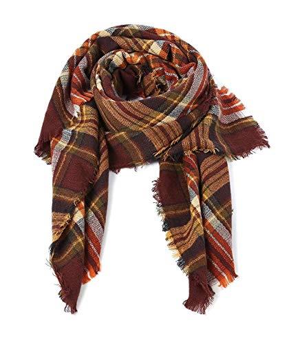 Women's Fall Winter Scarf Classic Tassel Plaid Scarf Warm Soft Chunky Large Blanket Wrap Shawl Scarves Coffee Warm