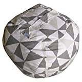 JaxGizmos Fun Stuffed Animal Storage Bean Bag Chair to Tame The Growing Pile of Stuffies, Doubles as a Kids Chair or an Ottoman for Extra Storage (XL, Grey)