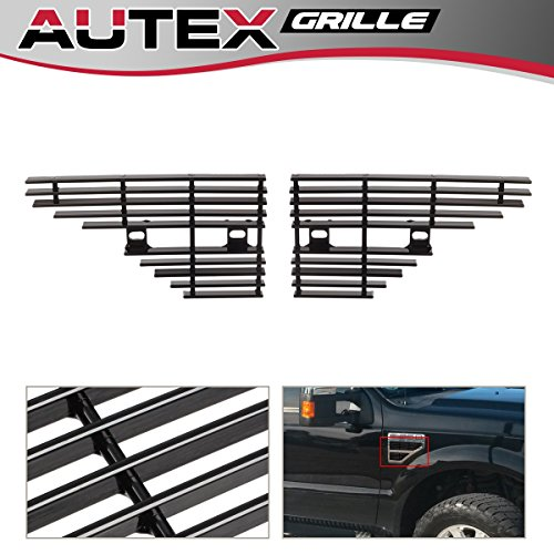 AUTEX Fits Compatible With 2008-2010 Ford F250 F350 F450 F550 Side Vent Billet Grille Grill Insert Aluminum Black Powder Coated F65542H
