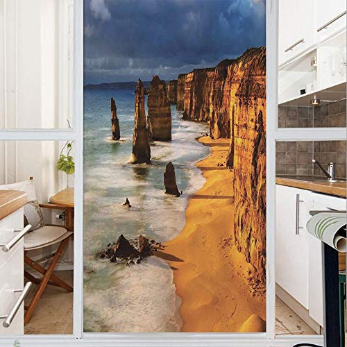 Decorative Window Film,No Glue Frosted Privacy Film,Stained Glass Door Film,Twelve Apostles Australia Sunset Great Ocean Road Coast Cliff Washed by Sea Surf Picture,for Home & Office,23.6In. by 35.4In