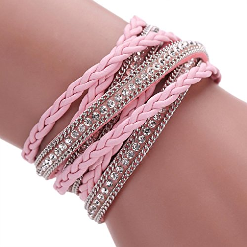 Welcomeuni Women Bohemian Bracelet Woven Braided Handmade Wrap Cuff Magnetic Clasp (Pink)