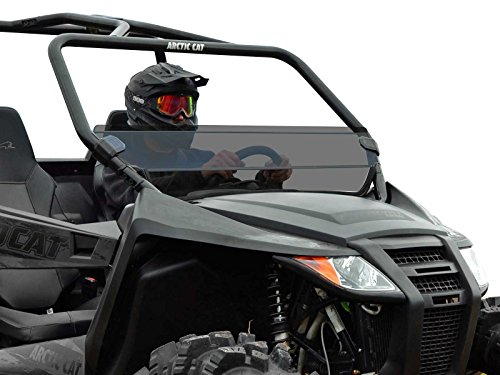 (SuperATV Heavy Duty Dark Tint Standard Half Windshield for Arctic Cat Wildcat Trail (2014+) - Quick and Easy to Install!)