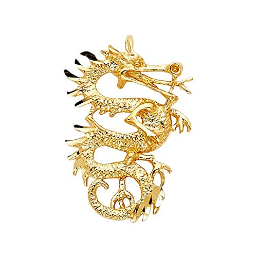14k Yellow Gold Dragon Pendant Charm