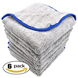 auto detail microfiber towel - AULLY PARK 800gsm Ultra Thick Plush Microfiber Car Cleaning Towels Buffing Cloths Super Absorbent Drying Auto Datailing Towel Gray (16 in. x 16 in., Pack of 6)