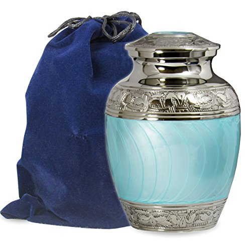Light Urn - Hugs and Kisses Beautiful Light Blue Child's Cremation Urn For Human Ashes - For a Lost Son or Baby Boy or Pet Dog or Cat - Find Comfort This Small Beautiful High Quality Urn - w Velvet Bag