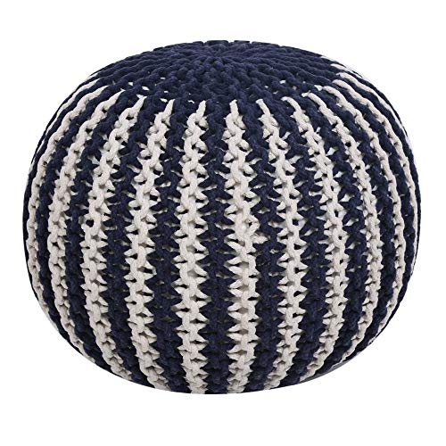 RAJRANG BRINGING RAJASTHAN TO YOU Round Pouf Ottoman Foot Rest Knit Bean Bag Floor Chair Cotton Braided Cord Great for The Living Room, Bedroom and Kids Room Blue Stripes - 20x14 Inch (Poofs Knitted)