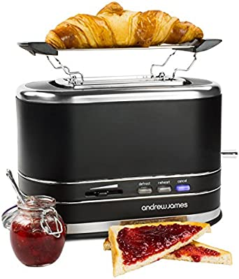 Andrew James Lumiglo Matt Black 2 Slice Kitchen Toaster With Warming Rack 800W
