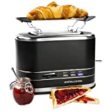 Andrew James Lumiglo Toaster 2 Slice   Electric Machine with Wide 3.6cm Slots Warming Rack & Adjustable Temperature Control   Defrost & Reheat Functions   800W   Black
