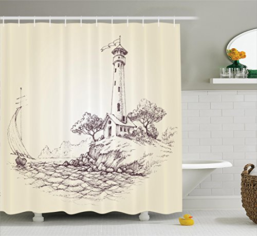 Seascape Lighthouse (Ambesonne Apartment Decor Collection, Lighthouse over Cliff and Sailboat in the Ocean Idyllic Voyage Seascape Coastal Theme, Polyester Fabric Bathroom Shower Curtain, 75 Inches Long, Biege Brown)
