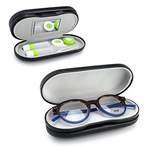 Eye Glasses Case and Contact Lens Case 2 in 1 Double Use Travel - Lens One Glasses