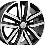 #2: 18x7.5 Wheel Fits Volkswagen - VW Jetta Style Black Rim w/Mach'd Face