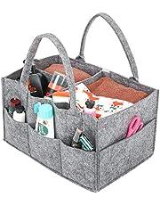 Umi. by Amazon - Cesta de pañales, organizador portátil de toallitas para bebé, pañalera con compartimentos ajustables, gris