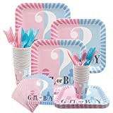 Amycute 124 Pcs Boy or Girl Gender Reveal Disposable Tableware Set, Square Plates, Napkins, Cups, Cutlery Set Serves 16 for Baby Shower Birthday Party Decorations Supplies