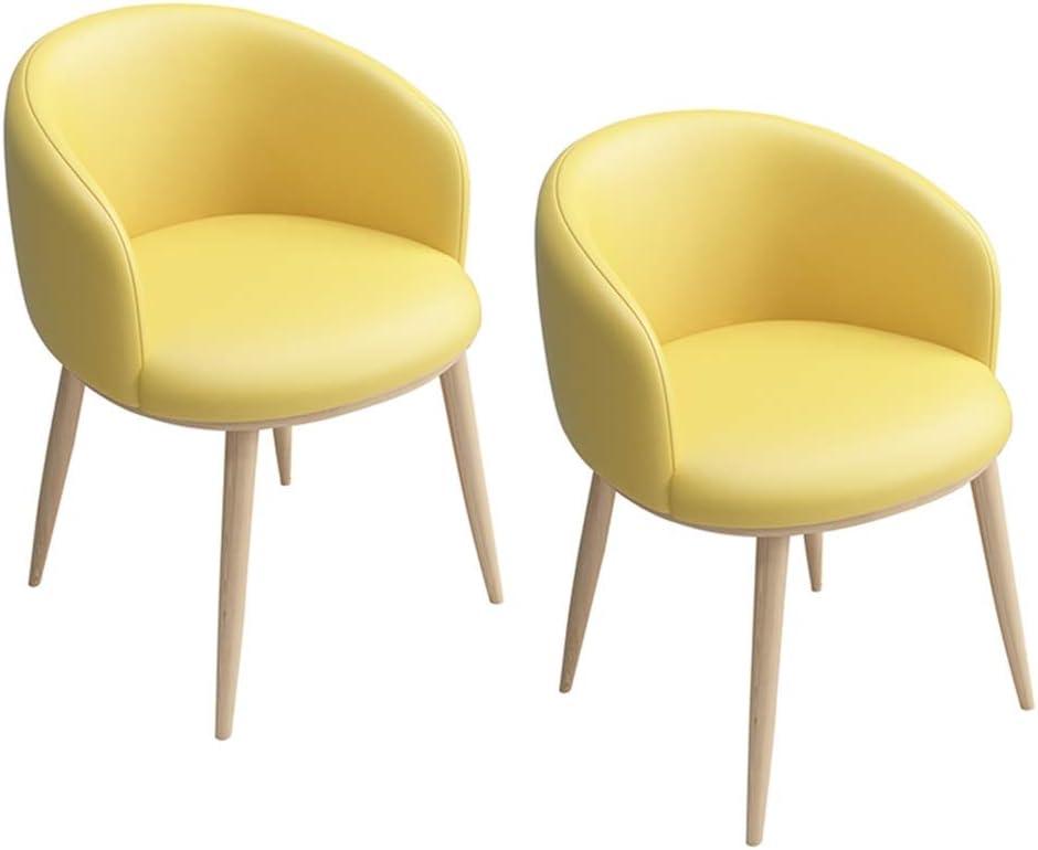 Zcxbhd Pack de 2 PU Cuero Retro Comedor Silla, Oficina Lounge Tipo Respaldo Soft sillón Cushion con el Estilo Madera Metal Patas (Color : Blanco): Amazon.es: Hogar