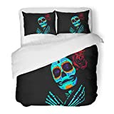 SanChic Duvet Cover Set Young Girl in the of Santa Muerte Saint Death Sugar Skull with Bright Make Up Studio Photography Neon Decorative Bedding Set with Pillow Sham Twin Size