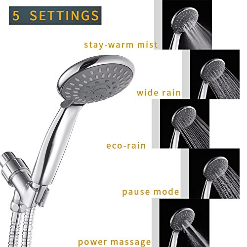 Hoimpro High Pressure 5 Spray Setting Handheld Shower Heads, Pulse-SPA Series Luxury Handheld Shower Heads with Extra long Stainless Steel Hose and Adjustable Bracket, Massage Experience - Chrome by Hoimpro (Image #1)