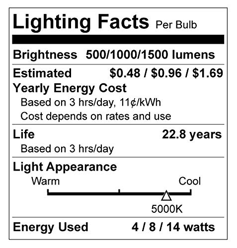 Great Eagle 40/60/100W Equivalent 3-Way A19 LED Light Bulb 5000K Daylight Color (4-Pack)