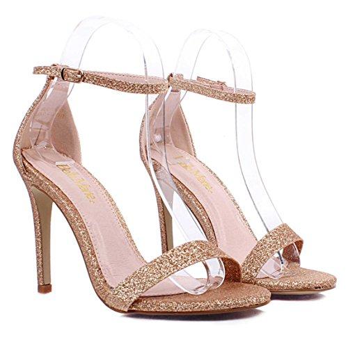 Caviglia Oro 4 Scarpe Donne Sexy Casuali Tacchi Alla Alti Slingback Weyoh Fibbia Janes Mary OTRxn