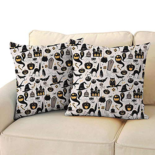 Living Room Sofa Hug Pillowcase Vintage Halloween Halloween Cartoon Jack o Lantern Tombstone Skulls and Bones Without core W 24