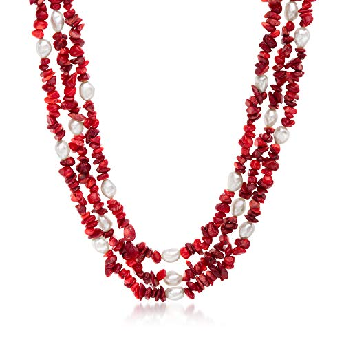 Ross-Simons 4-9mm Red Coral and 7-8mm Cultured Pearl Necklace With Sterling Silver ()
