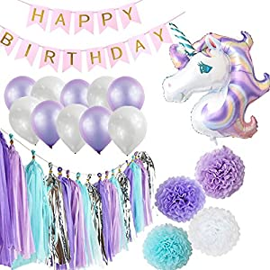 Happy Birthday Party Decorations, Unicorn Party Supplies Including Banner, Unicorn Balloon, 10 Latex Balloons, 16 Tassels & 4 Tissue Pom-Poms, Baby Shower & Bachelorette Party Favors | By Party Maniak