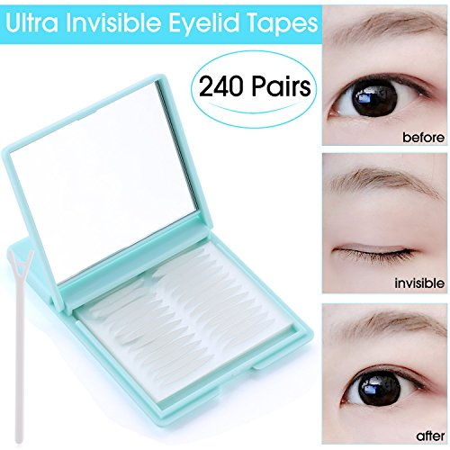 Ultra Invisible Fiber One Side Eyelid Tapes Stickers - 480pcs/240 Pairs Double Eyelid tapes - Instant Eyelid Lift Without Surgery, Perfect for hooded, droopy, uneven, or mono-eyelids (Medium) (Lift Surgery Eyelid)