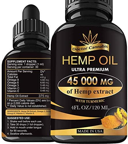 Hemp Oil, 45 000mg of Pure Extract, Sleep, Mood and Pain Relief Supplement, Oil for Relax, 100% Organic Hemp Drops, 4 Fl oz. (120ml)