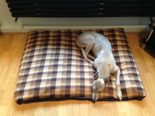 kosipet® Marrón Medio de forro polar romboide Memory Foam Deluxe - Cojín Impermeable Cama para perro, camas para perros, camas de PET, PET cama, petbed, ...