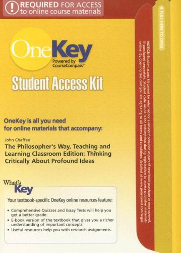 The Philosopher's Way, Teaching and Learning Classroom Edition Student Access Kit: Thinking Critically about Profound Id