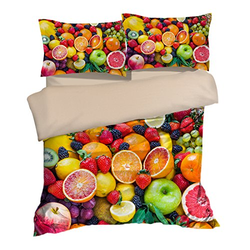 Special Fruit Pattern Cotton Microfiber 3pc 104''x90'' Bedding Quilt Duvet Cover Sets 2 Pillow Cases King Size by DIY Duvetcover