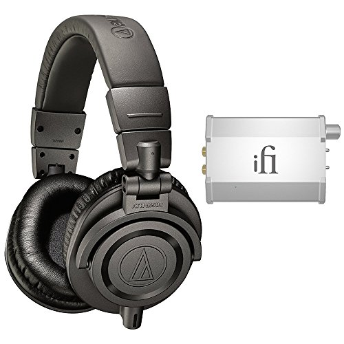 Price comparison product image Audio-Technica Limited Edition Professional Studio Monitor Headphones - Matte Gray (ATH-M50xMG) with iFi Audio Nano iCAN Portable Headphone Amplifier for iPhone/iPod/Android & Mac/PC Devices