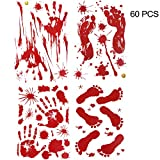 YuBoBo 60 PCS Halloween Decoration Removable Horror Bloody Handprints Footprints Decals Stickers, Halloween Vampire Zombie Party Décor Supplies