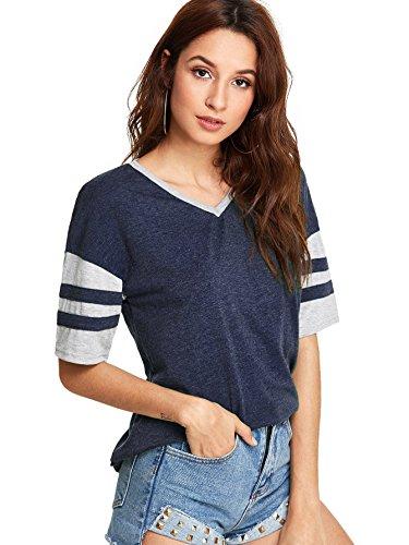SweatyRocks Women Casual Varsity Football Tee Striped Color Block T-Shirt Blouse Navy M
