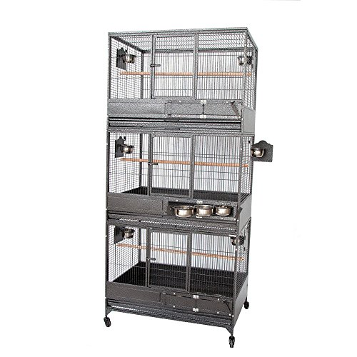 Double Breeder - NEW Large Triple Stackers Wrought Iron Breeding Breeder Parrot Aviary Bird Cage