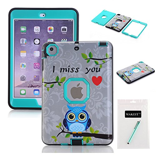 MAKEIT CASE iPad Mini Case [MISSING YOUR OWL Pattern] 3in1 Hybrid Shockproof Hard Plastic with Soft TPU Triple Layer Armor Protective Case Cover For iPad Mini 1/2/3 (MTY2-Green)