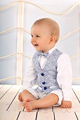 LULINA Abito da Battesimo Elegante Color Blu-Bianco, Vestito da Cerimonia 4pz. 2