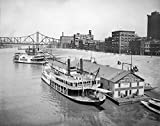 Pittsburgh Historic Black & White Photo, Steamboats on the Monongahela River, c1907